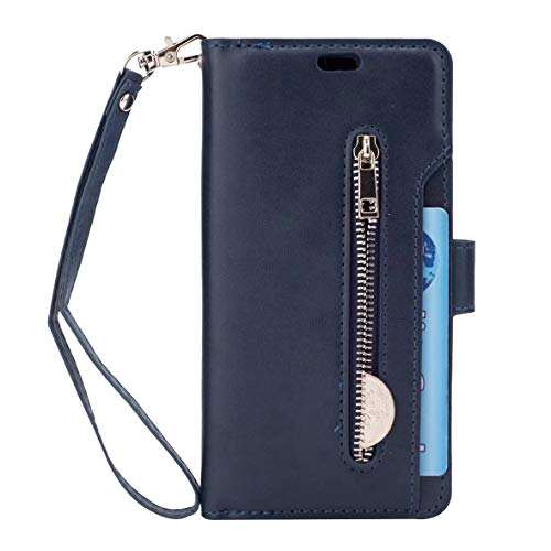 Galaxy S9 Wallet Case, Leather [9 Card slots] [photo & wallet pocket] (Blue)