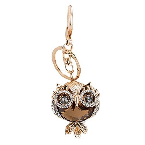 (LABANCA Lovely Owl Key Ring Chain Sparkling Rhinestone Pendant Keychain Handbag Charms Accessories Purse Bags Decoration)