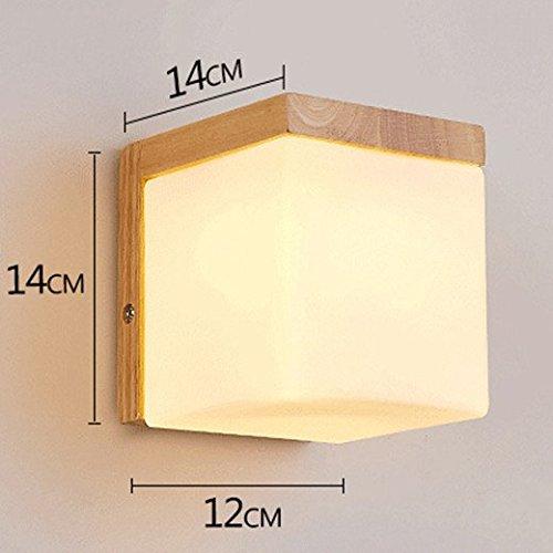 Anbiratlesn Modern E27 Vintage Rustikal Wandlampe für Schlafzimmer Wohnzimmer Korridor Badezimmer Küche Bett Massivholz Holz Flur 14  14  12 cm Led
