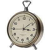 Vintage Decorative Small Desk Clocks for Bedroom/Living Room/Kitchen/Office/Classroom (Gold)