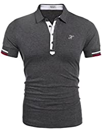 Mens Casual Button Up Slim Fit Sport Polo Shirts Short Sleeve