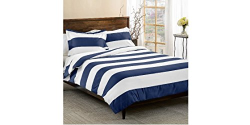 3-Piece-Navy-Blue-White-Rugby-Stripes-Duvet-Cover-Full-Queen-Set-Cabana-Striped-Bedding-Hotel-Like-600-Thread-Count-Nautical-Solid-Color-Sports-Themed-Cotton-Polyester-Blend-Sateen-Weave-Soft-Button