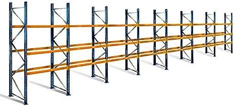 Estantería para palés con 4 niveles, 4 m de altura, 19,5 m de ...