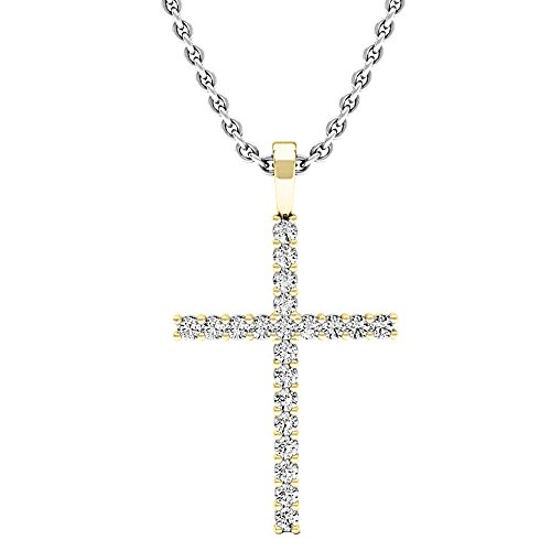 Dazzlingrock Collection 0.30 Carat (Ctw) 14K Gold Round Diamond Ladies Cross Pendant 1/3 CT (Silver Chain Included)