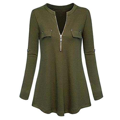 Henleys,Toimoth Fashion Womens Long Sleeve V Neck Casual Roll-up Sleeve Zipper Shirt Blouse Tops(Army Green,L)