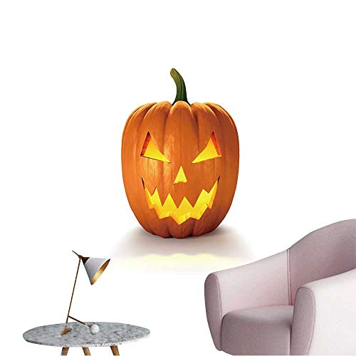 Wall Stickers for Living Room Scary Jack O Lantern Halloween Pumpkin with Candle Light Inside,d Render Vinyl Wall Stickers Print,28