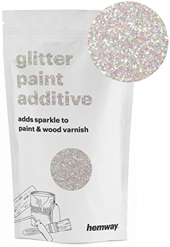 Hemway | Glitter Paint Additive 110g/3.5oz Acrylic Latex Emulsion Water Based Paints Interior/Exterior Wall, Ceiling, Wood, Metal, Varnish, Dead flat, Matte (Mother Of Pearl) -