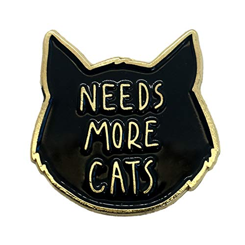 "Ectogasm 100141"" Needs More Cats Gold and Black Enamel Lapel Pin"