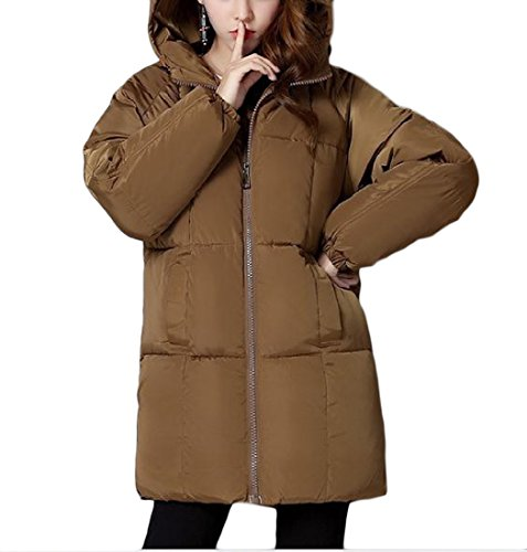 Hooded Womens Basic Coffee Cotton Sezioni Winter Down Againg Slim Lunghe Fit 1tUxwwEdq