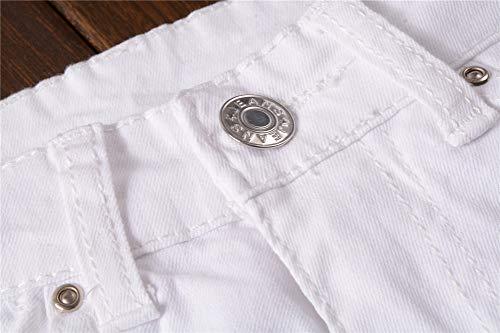 Grabado Ajustado Biker MISSMAOM Mezclilla Hombres Ripeado de para Jeans Destruido Elástico Pantalones Blanco Flaco gYYWqwvzS