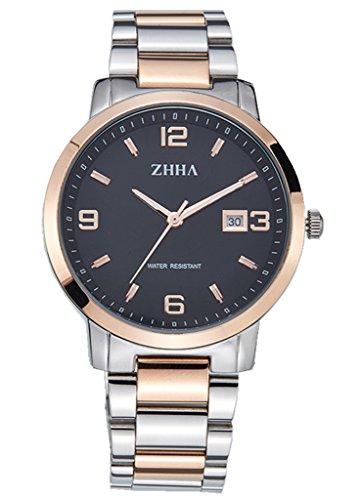 ZHHA Men's 061 Classic Quartz Black Dial Rose Gold Stainless Steel Bracelet Wrist Watch Waterproof