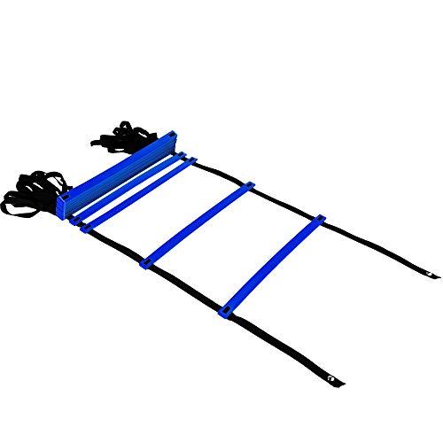 REEHUTAgilityLadderw/FreeUserE-Book+CarryBag-SpeedTrainingEquipment (Blue, 12 Rungs)