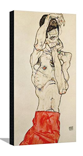 Standing Male Nude with Red Loincloth, 1914 Stretched Canvas Print by Egon Schiele - 15.5 x 28.5 in