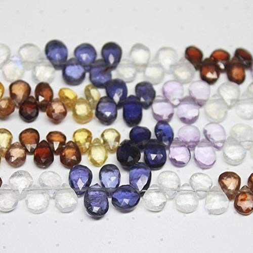 Natural Multi Stones Faceted Pear Drop Gemstone Craft Loose Beads Strand 8
