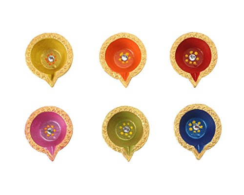 Store Indya, Handmade Earthen Clay Terracotta Decorative Diyas Oil Lamps with Rhinestone (Jewel for Pooja) - Puja Set of 6 (Multicolor - Stores Clay Terrace