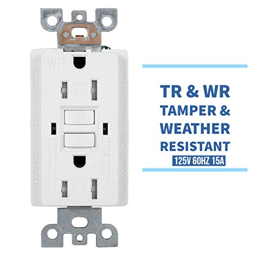 10 Pack - GFCI Duplex Outlet Receptacle - Tamper Resistant & Weather Resistant 15-Amp/125-Volt, Self-Test Function with LED Indicator - UL Listed, cUL Listed - Wall Plate and Screws Included, White by Dependable Direct (Image #2)