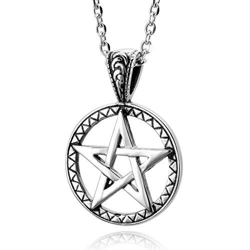 INBLUE Men's Stainless Steel Pendant Necklace Silver Tone