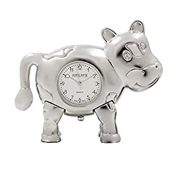 Home Accessories by Daniel David - Miniature Silver Cow Desk Clock - Make Every Second Count - BB0011