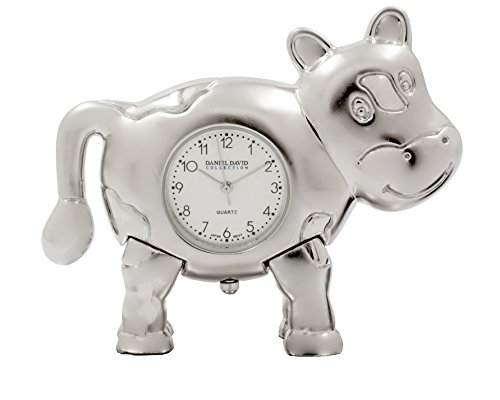 Daniel David Home | Analog Desk Clock - Miniature Silver Cow | BB0011