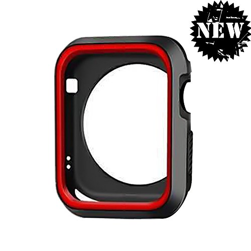 (DECVO for Apple Watch Case, Shock-proof and Shatter-resistant Protective Case Defense Edge Premium Aluminum & TPU Bumper Frame for Apple Watch Series 3/Series 2/Series 1 and Edition 42mm M/L (Red))