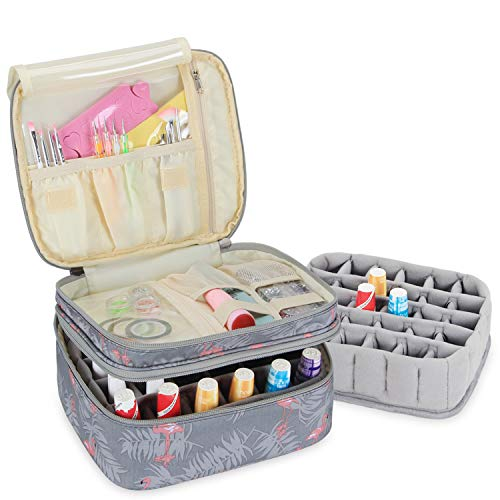 Luxja Nail Polish Carrying Case - Holds 30 Bottles (15ml - 0.5 fl.oz), Double-layer Organizer for Nail Polish and Manicure Set, Flamingo (Best Place To Store Nail Polish)