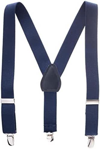 Hold'Em Suspenders for Kids Boys and Baby - Made in the USA - Elastic Fully Adjustable, Extra Sturdy Polished Silver Metal Clips, Genuine Leather Crosspatch Premium 1 Inch Suspender Perfect for Tuxedo