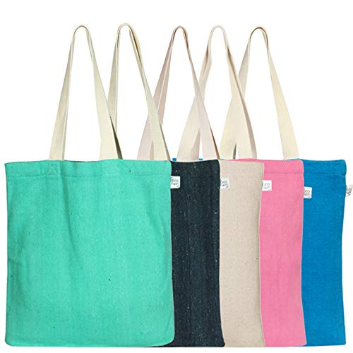 EcoRight Reusable 100% Recycled Cotton Eco Friendly Tote Bag (Pack of 5) -