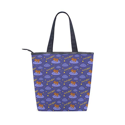 School Night Women Shoulder Picnic Tote Outdoor Pattern Purse Tote Bears Handbag Zippered Bag for Shopping Bag Girls COOSUN Canvas Good TgfqFw5fxP