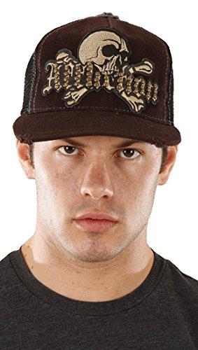 Affliction Stacked Up Skull Crossbones Stud Mesh Trucker Baseball Cap Hat Brown -