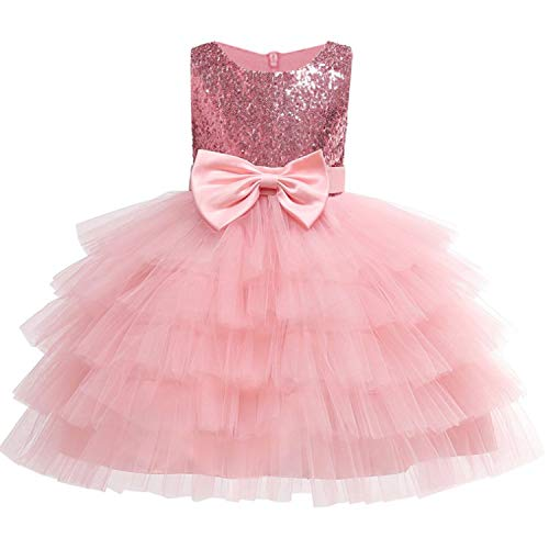 Baby Girls Golden Thread Embroidery Elegant Party Dress for Girls Wedding Dress Kids Dresses for Toddler Girls Christmas Clothes,Pink2,4T