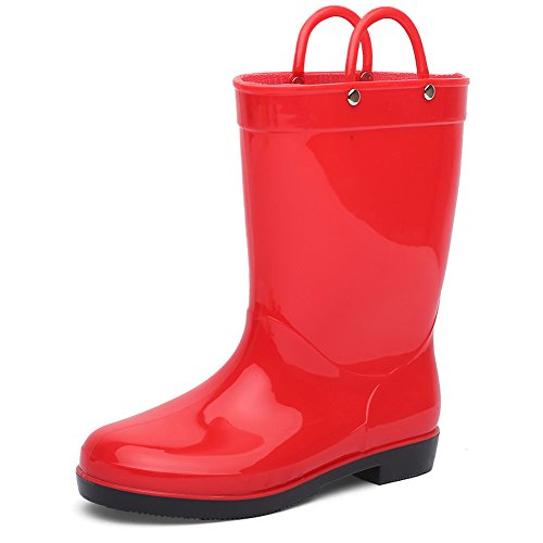 CIOR Toddlers Rain Boots Durable Kids Waterproof Shoes with Handles Easy On for Girls and Boys,Red,33 -