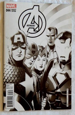 The Avengers #44 Jim Cheung END OF AN ERA Variant Cover Comic Book – VERY RARE B&W VERSION – TIME RUNS OUT – Marvel Comics 2015 – UNCIRCULATED 9.8 Grade