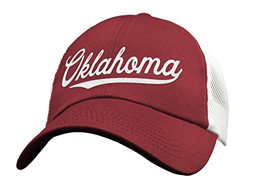 State of Oklahoma Trucker Hat Baseball Cap - Snapback Mesh Low Profile Unstructured Sports - OK USA