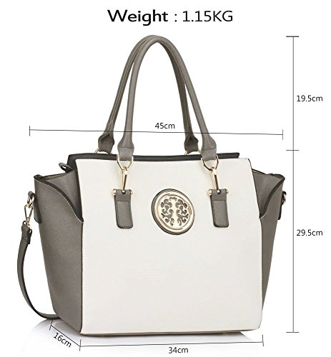Cross CWS00353 Tote Women's Designer Leather Body Ladies Fashion Grey Handbag Style Selling Celebrity Hot Faux White Quality Bags w7qxI