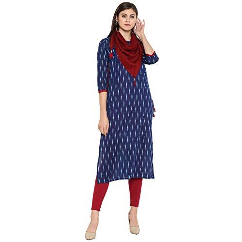Janasya Indian Tunic Tops Cotton Kurti for Women (JNE2145-KR-406-XXL) Blue