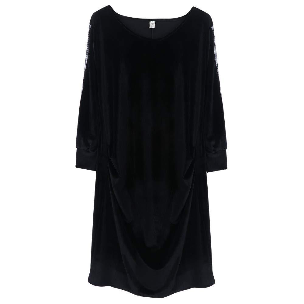 Dress for Women Girl Vintage Velvet Quilted V Neck Long Sleeve Button Slim Dresses (Black,S)