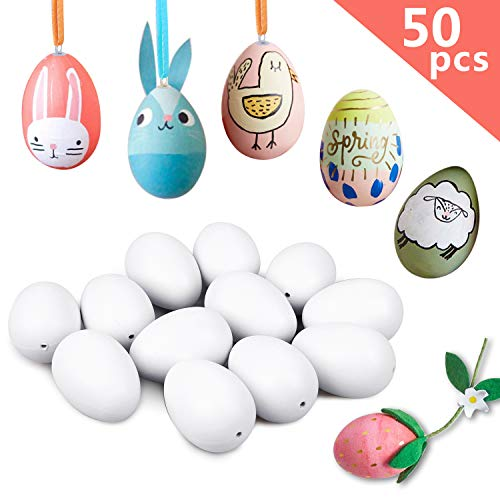 YOUTH UNION 50Pcs Plastic Easter Eggs- Hanging Artificial Blank White Plastic Eggs with Ribbon,for DIY Painting Home Decorations ()