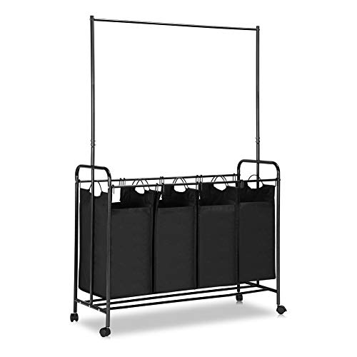 Zonejoy 4-Bag Laundry Sorter with Hanging Bar, Heavy-Duty Rolling Laundry Hamper Sorter Cart with Lockable Wheels - Black