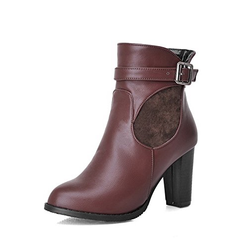 AmoonyFashion Womens Low-Top Solid Zipper Pointed Closed Toe High-Heels Boots, Claret, 32