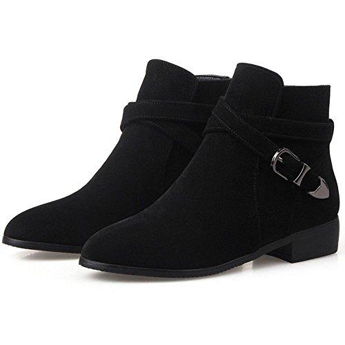COOLCEPT Women's Fashion Flat Ankle Boots Black qYknwsQ