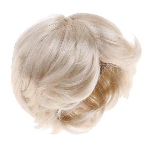 Homyl 1/4 BJD Doll Short Curly Hair Gold Wig 8-9 inch 18-20cm for DOD AOD DOC Dollfie DK LATI-BLUE Accessories