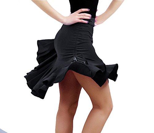 Womens-Latin-Dance-Skirt-Ballroom-Tango-Swing-Rumba-Chacha-Dancing-Costume-Dress-XL-Black