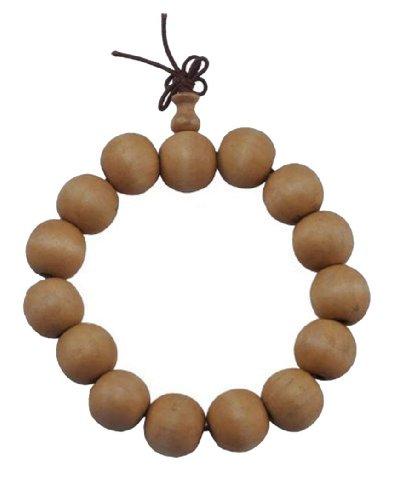 14mm Wood Prayer Beads Wrist Mala Bracelet for Meditation #24