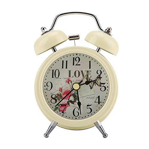 (FTVOGUE Mini Digital Alarm Clock Metal Mute with Lights Twinkling Bell Classical Butterfly Antique Clock for Bedroom)