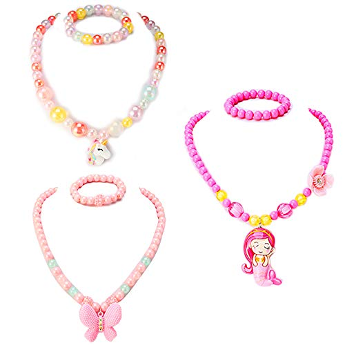 - PinkSheep Kids Beaded Necklace and Bracelet 3 Sets, Butterfly Unicorn Necklace and Bracelet 3 Sets, Party Favors Bags for Kids