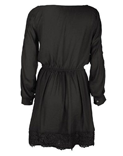 Dress Trim Casual Elegant Women Mid Tunic Lace Solid Black Coolred Length nWzqPA7P