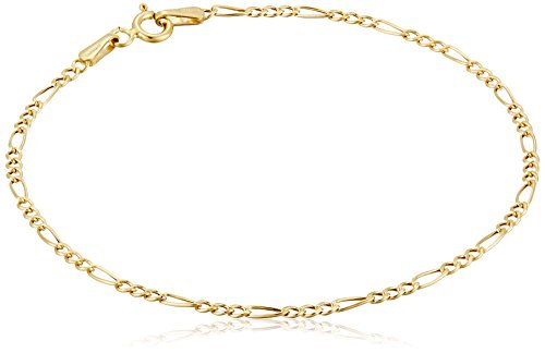 14k Yellow Gold Hollow Figaro Chain Bracelet, 7