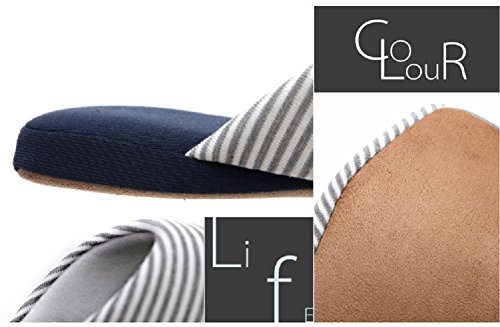 Slippers Slippers Couple C Gray Slippers Unisex Trendy House Soft X Indoor SPA Cotton Stripe zzPaZ