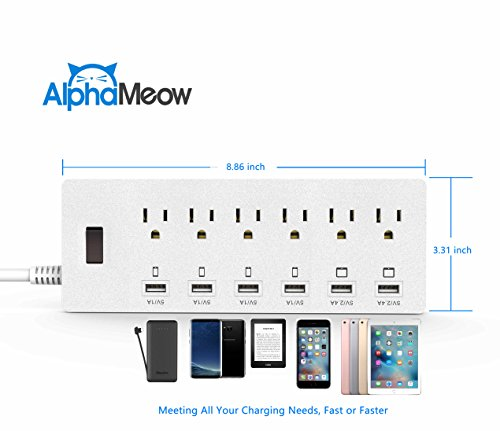 Power Strips 6-Outlet Surge Protector 6ft Cord Power Strip with 6 Ports USB Charging Station Universal Power Strip Power Cord Outlet Switch Surge Protector - White by Alpha Meow (Image #3)