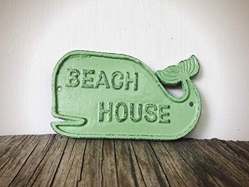 Mint Green Beach House Cute Whale Wall Sign - Front Porch Coastal Nautical Décor - Surf Themed Play Room and Nursery - Sign Nautical Ocean Weathered